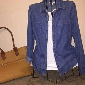 Cute denim long sleeve button up